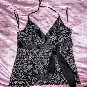 EUC Bebe lace deep-V halter w/ satin bow tie sash